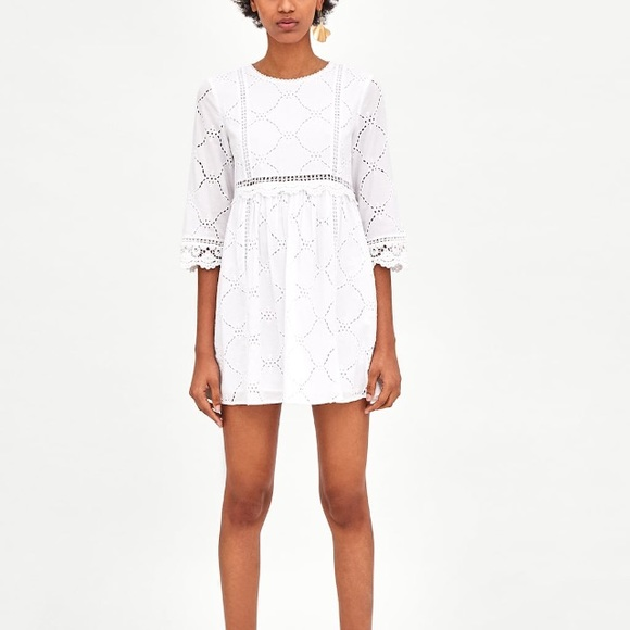 b0f3be5f4ed Zara white jumpsuit dress with cutwork embroidery